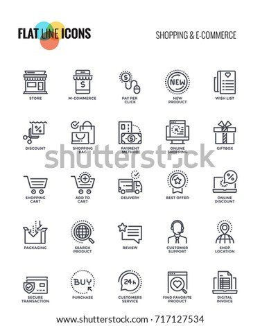 set of flat line shopping and e