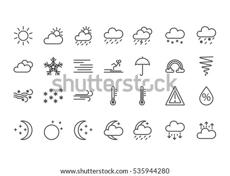 Set of flat line weather icons. Black. Isolated