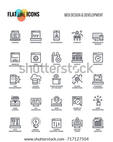 Set of flat line Web design and Development icon suitable for mobile concepts, web application, printed media and infographics projects. Vector Illustration