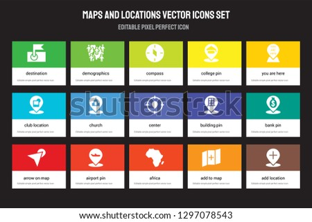 Set of 15 flat maps and locations icons - Destination, Demographics, Africa, You are here, Arrow On Map, Building Pin, Bank Add to Map. Vector illustration isolated on colorful background