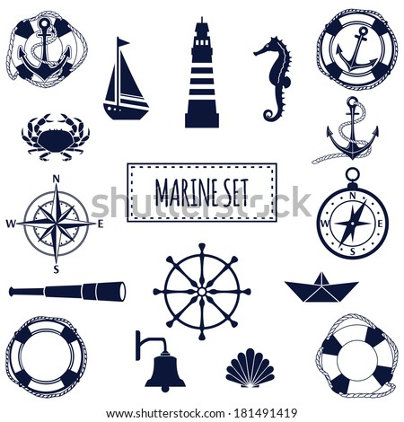 set of flat marine elements