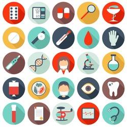 Set of flat medical icons