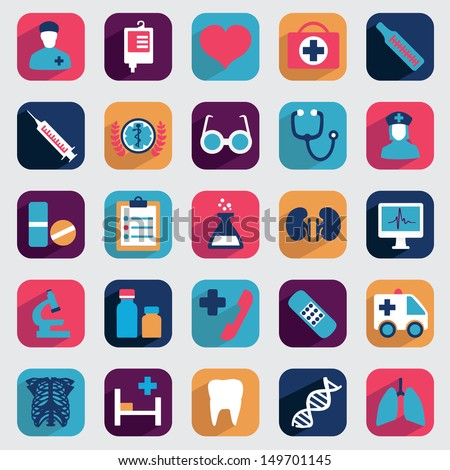 Set of flat medical icons for design - vector icons