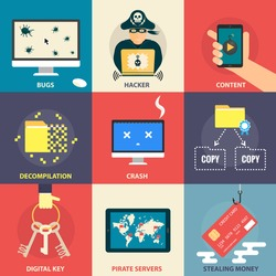 Set of flat modern icons - computer pirate, hacking, hacker, malware, stealing money, software bugs, digital key, errors. Design elements for web, mobile applications, infographics.