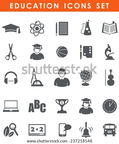 Set of flat monochrome school and education icons