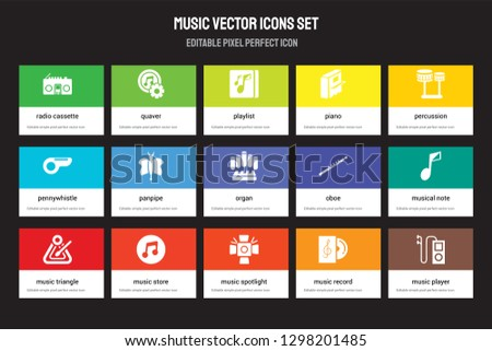 Set of 15 flat music icons - Radio cassette, Quaver, Spotlight, Percussion, Triangle, Oboe, Musical Note, Music Record. Vector illustration isolated on colorful background