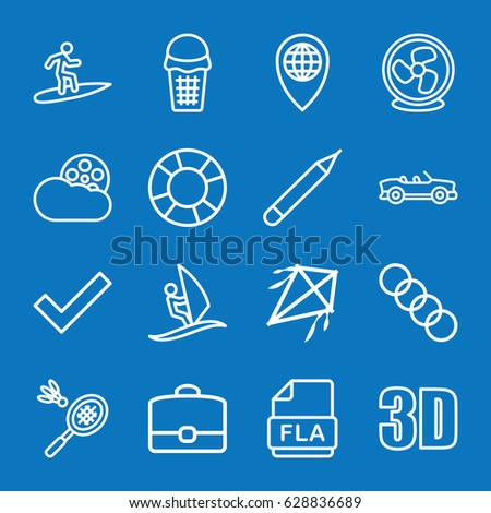 set of 16 flat outline icons