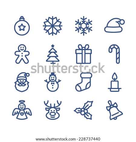 Stock Photo Set of flat outlined Christmas icons on white background