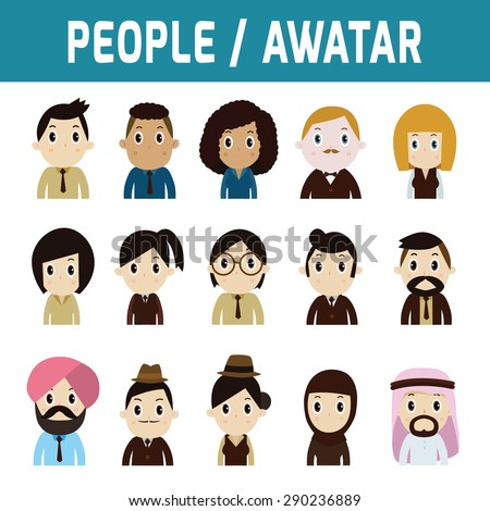 set of flat people avatar icons
