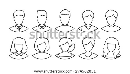 Set of flat people icons. Different faces of people for avatar, for app or web design, vector men, women characters in line art style