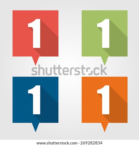 Set of flat pin marker Icons with number stock photo