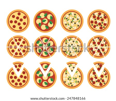 set of flat pizza icons