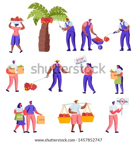 Set of Flat Protesting Against Palm Oil Manufacture Producing Characters. Cartoon Protesters with Banners, Workers Collect Fruits, Reusable Packaging. Vector Illustration.