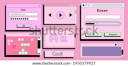Set of flat retrowave UI and UX elements: dialog box, tab, button, modal window.