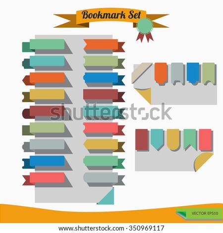 Set of flat ribbons bookmark.