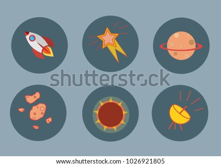 set of flat rocket icons
