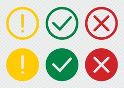 Set of flat round check mark, exclamation point, X mark icons, buttons on a isolated background.Green red yellow vector circle symbols. Red check mark icon vector.Stock vector. Vector illustration