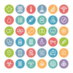 Set of Flat Round Icons for Medical Design. Isolated on White Background.