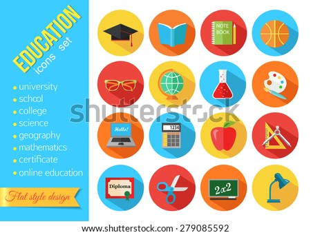 Set of flat school and education icons. Vector illustration.