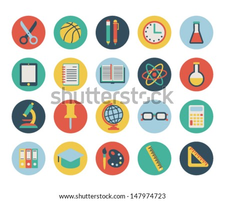 set of flat school icons. isolated on white.