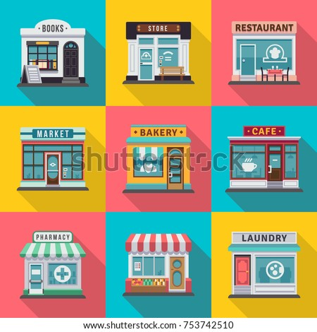 Set of flat shop building facades icons. Vector illustration for local market store house design. Shop facade building, street front commercial market