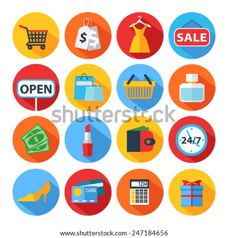 Set of flat shopping icons. Vector illustration.