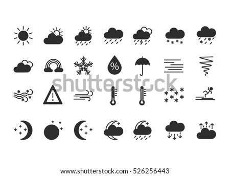 Set of flat silhouette weather icons. Black. Isolated