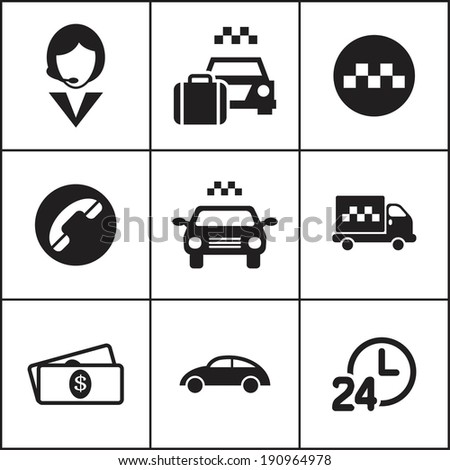 Set of flat simple web icons (taxi, cab, transport, car), vector illustration