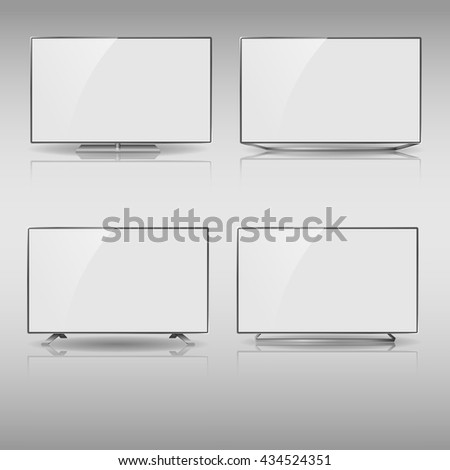 Set of Flat Smart TV Mockup, modern flat screen lcd, Smart led with blank screen, Smart TV Mockup, LED TV hanging on the wall.