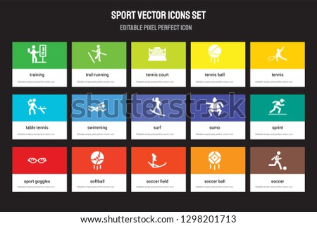 Set of 15 flat sport icons - Training, trail running, Soccer field, Tennis, Sport Goggles, sumo, sprint, ball. Vector illustration isolated on colorful background