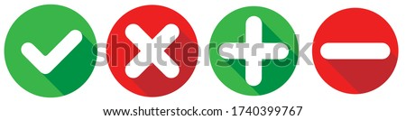 Set of flat square check mark, X mark, plus sign and minus sign icons, buttons isolated on a white background. EPS10 vector file. Foto stock ©
