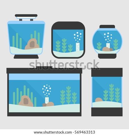 set of flat style aquarium