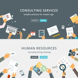 Set of Flat Style Designs. Business Concepts. Human Resources. Teamwork, Consulting, Planning, Brainstorming and Presentation Concepts Design. Marketing and Online Payments.