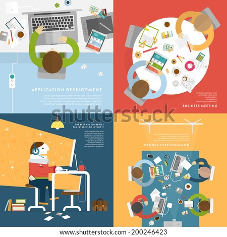set of flat style illustrations