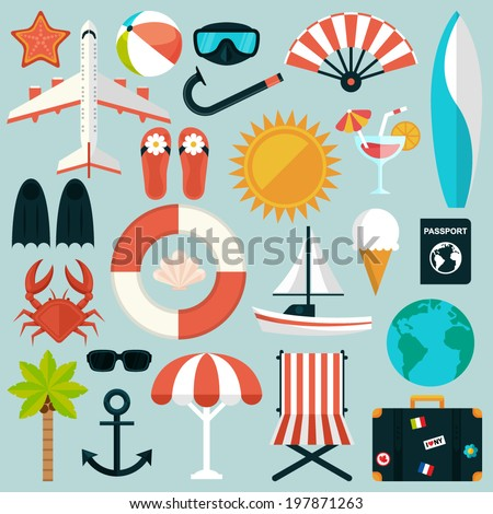 set of flat summer rest icons