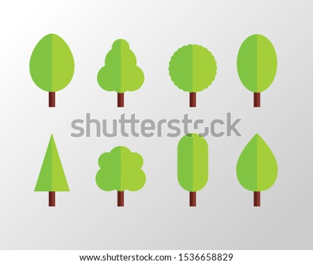 Set of flat tree vector. Vector illustration, Collection of trees illustrations. Can be used to illustrate any nature or healthy lifestyle topic.