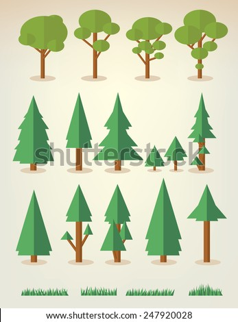 set of flat trees and grass