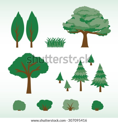 set of flat trees  bushes and
