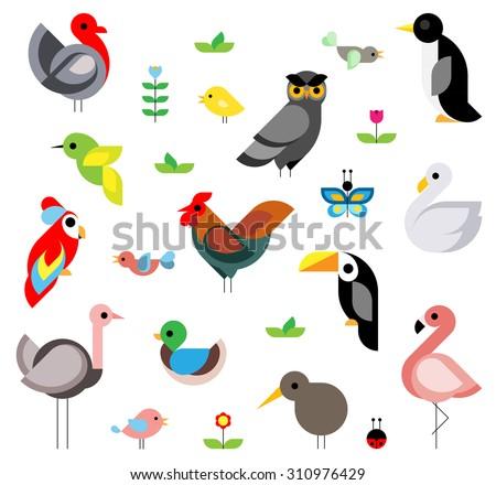 set of flat vector birds