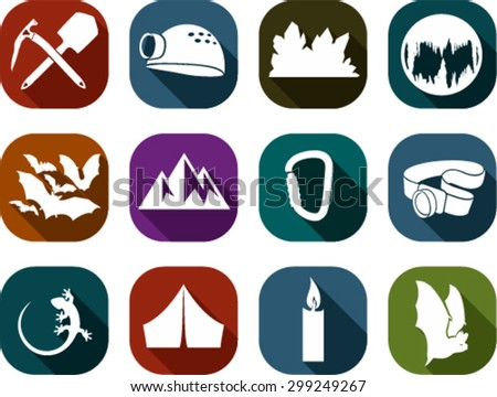 set of flat vector cave icons