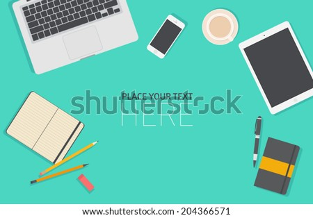 Set of flat vector design illustration of modern business office and workspace. Top view of desk background with laptop, digital devices and notepad