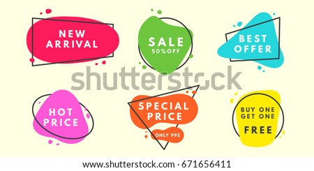 Set of flat vector geometrical vintage warm color banners. Promotion concept. Vector illustration.