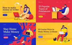 Set of flat vector landing pages on the themes: freelance, make money at home, earn in internet, success, remote work. A freelancers working at the laptops.