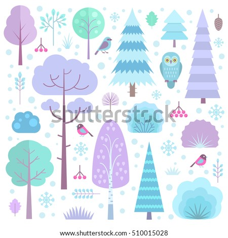 set of flat vector winter