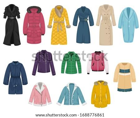Set of flat vector women's outerwear. Trench coat, raincoat, overcoat, quilted coat, bomber, fur coat, sheepskin coat, leather jacket.