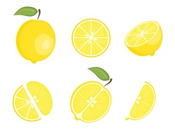 Set of flat vector yellow whole lemon and fruit slices - split in a half along and across, circle and wedge, a slice of lemons. Cute colorful summer fruit for icon design, stickers