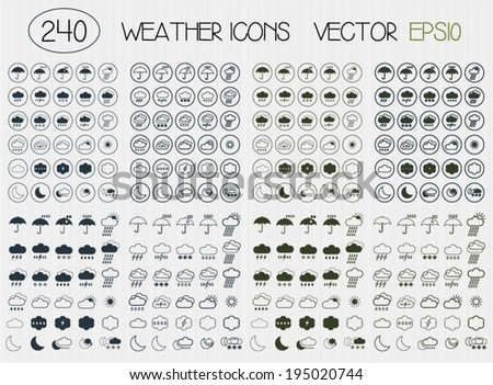 Set of flat weather icons for web. Simple icons