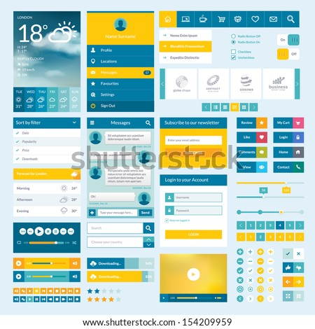 set of flat web elements  icons