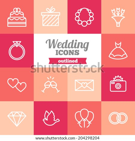 set of flat wedding icons