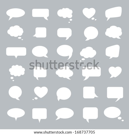 Set of flat white bubbles for speech on a gray background. Elements for design.